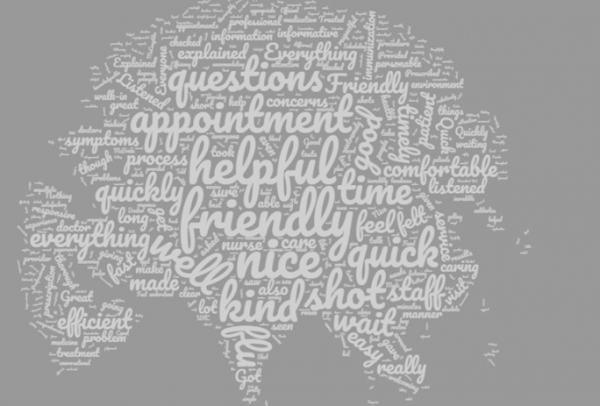 Grey background Word Cloud of positive comments from the Patient Satisfaction Survey
